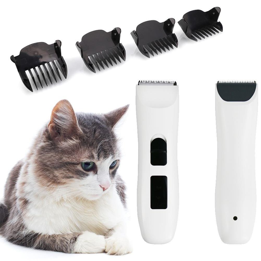 Front and back details of cat hair trimmer with 4 comb guides